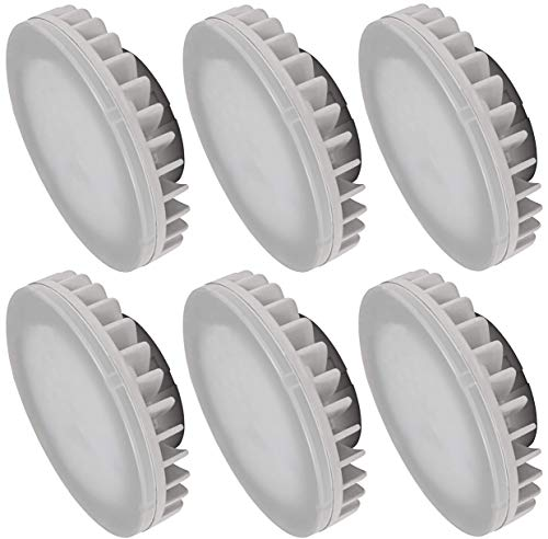 GX53 LED-lampen, 8 watt, 800 lumen, CRI 80Ra, niet-verblindend, stralingshoek 120°, daglicht wit (4000 K), pak van 6