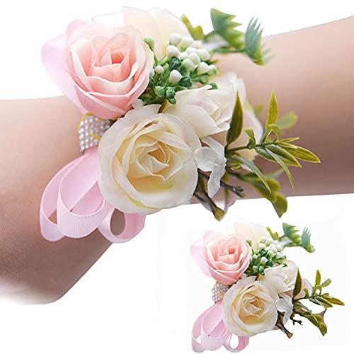 2 Piezas Flores de Muñeca Boda, Pulsera Corsages, Flor de Ramillete de...