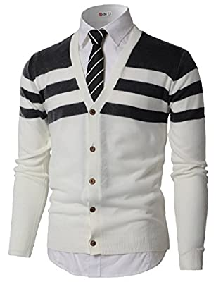 H2H Mens Fashion Relaxed Fit Color Contrast Knitted Button Down Cardigan Sweater Charcoal US XL/Asia 2XL (KMOCAL0184) by