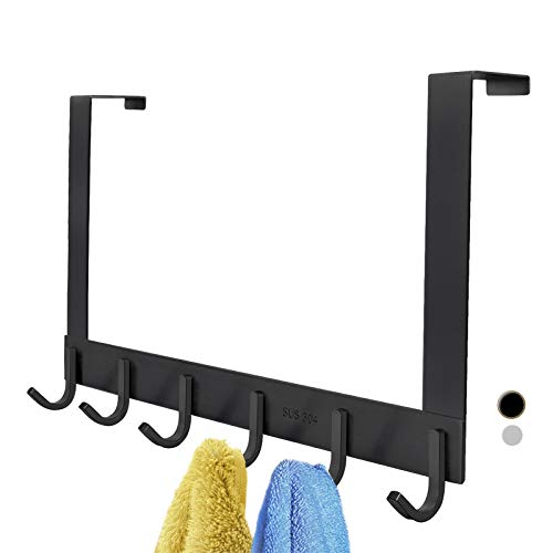 Over The Door Hook Hanger, FLE Black 6 Hooks of SUS304 Stainless Steel Heavy-Duty Organizer Rack for Coat,Towel,Bag,Robe