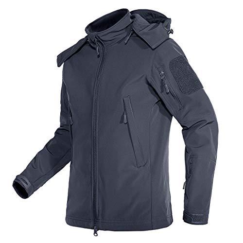 TACVASEN Active Windproof Softshell Jackets Womens Coats Outerwear Multi Pockets Grey, M