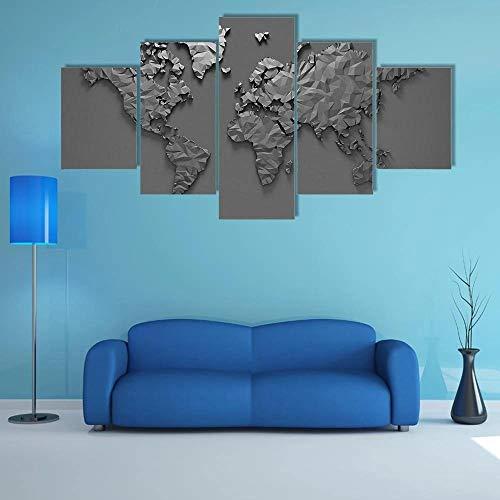 QQQAA Cuadros Modernos Impresión de Imagen Artística Digitalizada Lienzo Decorativo para Tu Salón o Dormitorio Mapa Mundo 3D Origami XXL 5 Piezas (150x80CM)
