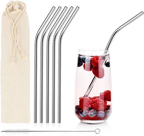 com-four® 5 Edelstahl Trinkhalme, 21,5 cm, rostfrei, Strohhalm mit Reinigungsbürste, wiederverwendbar