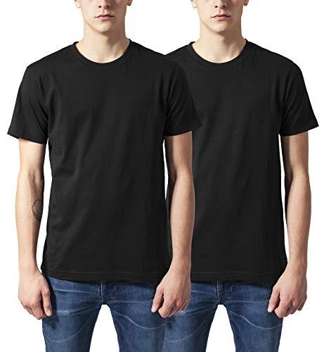 Urban Classics Herren Basic Tee T-Shirt, Mehrfarbig (Black (2-Pack) 00017), (Herstellergröße: Medium) (2er Pack)