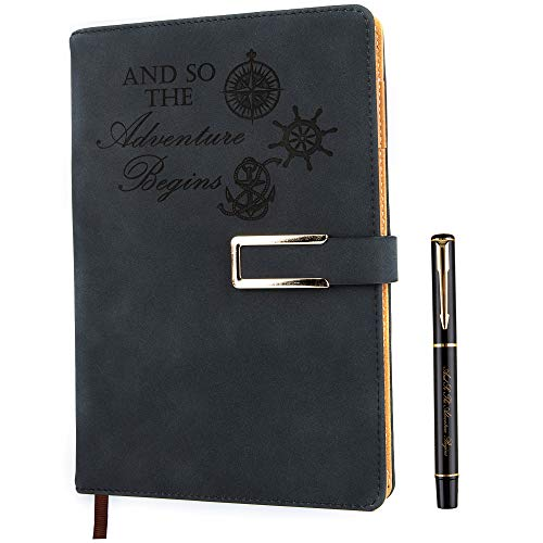 Squared Grid Paper Notebook Graph Ruled Hardcover Refillable Writing Journal A5 Faux Leather 200 Pages Thick Paper-100gsm with Magnetic Buckle + Pen Loop (Adventure - Black)