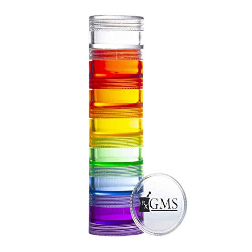 GMS 7 Day Stackable Tritan Plastic Pill Case with Two Lids and Seven Adhesive Labels - for Medications, Vitamins, and Supplements (Extra Small - Rainbow)