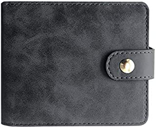 Stylish Wallet RFID Blocking Man's Wallets PU Leather Bifold Hasp Money Purse Credit Card Holder Short Clutch Purses 2 ID Window Best Festival Gift (Color : Black, Size : S)