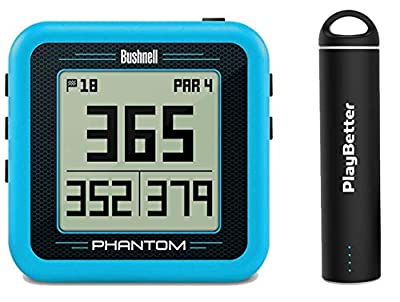 Bushnell Phantom (Blue) Power Bundle with PlayBetter Portable USB Charger (2200mAh) | Handheld Golf GPS, Built-in Golf Cart Magnet, 35,000+ Pre-Loaded Courses, Compact & Lightweight