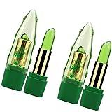 (2 piezas) Lápiz labial de aloe vera que cambia de color, labios que cambian de color con temperatura, lápiz labial mágico, brillo de labios nutritivo de larga duración con aloe vera