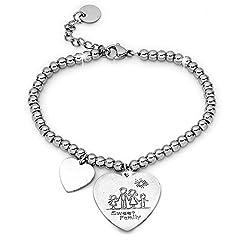 Idea Regalo - Beloved Bracciale da donna, braccialetto in acciaio emozionale - frasi, pensieri, parole con charms - ciondolo pendente - misura regolabile - incisione - argento - tema famiglia (MF5)