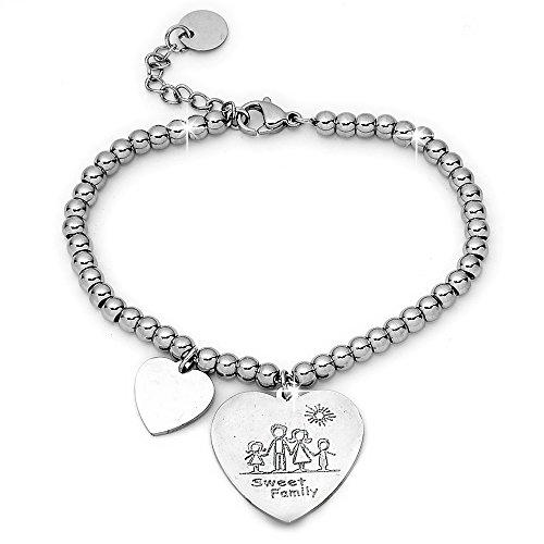 Beloved Bracciale da donna, braccialetto in acciaio emozionale - frasi, pensieri, parole con charms - ciondolo pendente - misura regolabile - incisione - argento - tema famiglia (MF5)