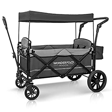 WonderFold WFB92T 2-Passenger Stroller Wagon with Removable Canopy and 5-Point Harness, Gray
