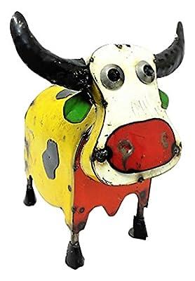 Rustic Arrow Medium Colorful Cow Statute, Multicolor