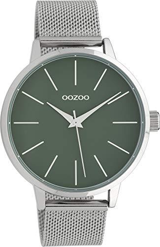 Oozoo Damenuhr mit Edelstahl Milanaise Metallband 42 MM Grün/Silberfarben C10006