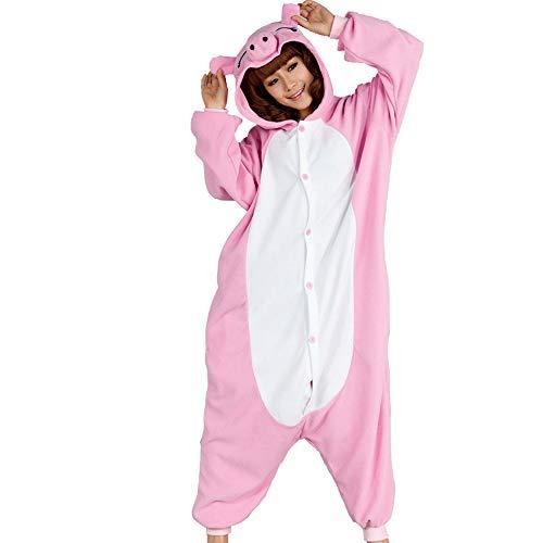 JXILY Pijama de Animales Pijama de una Pieza de Dibujos Animados de Animales de Cerdito Rosa Polar Polar Cosplay o Pijama, Adecuado para Exteriores,XL
