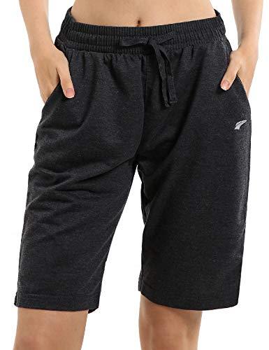 EZRUN Women's Lounge Bermuda Shorts Workout Activewear Jogger Gym Yoga Sweat Shorts with Pockets(Black,m)