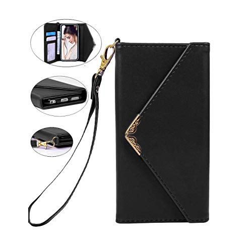 """Crosspace iPhone XR Case,iPhone XR Wallet Case,Envelope Flip Handbag Shell Women PU Leather Slim Holster Magnetic Folio Cover with Card Holder Wrist Strap for iPhone XR 6.1""""-Black"""