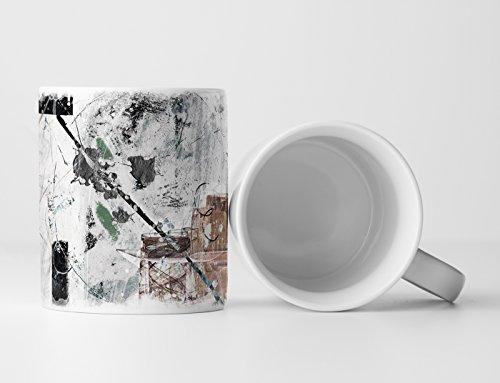 Eau Zone Design Abstrakt Tasse Geschenk hellgraue Grundierung; schwarz, braun, grün Elemente