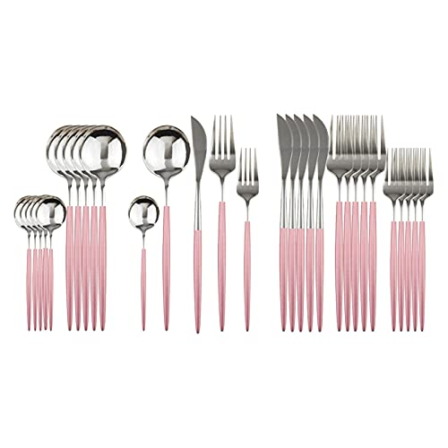 SHUAN QIAO 30Pcs Black Dinnerware Set Stainless Steel Dessert Fork Mirror Cutlery Set Tableware Set Flatware Set Home Accessories (Color : Pink Silver)