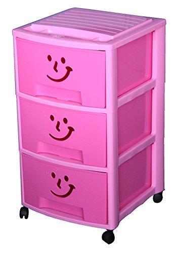 M-Home Schubladenrollwagen 'Gesicht' mit 3 Schüben in pink 'PLS6093'