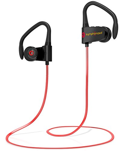 Symphonized PWR Bluetooth Earbuds, Wireless, Water Resistant Sport Earphones with Mic, HD Stereo, Sweatproof in-Ear Headphones, Secure Fit Buds, Gym, Running, Workout, Travel Headset (Red)