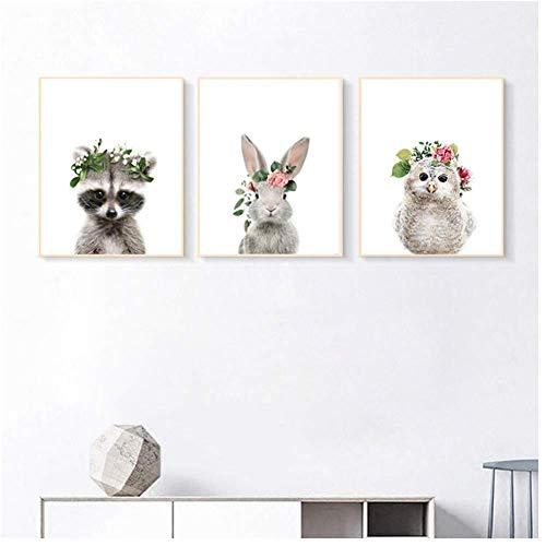 Posters schattig dier konijn decoratief canvas schilderij moderne kinderkamer schilderij kern kwekerij print drieluik-40x50cmx3pcs-geen frame