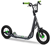 Please note this is not an electric scooter. Rides over bumps on paved and non paved surfaces, 12 inch air filled bike style tires, Riding around the neighborhood or urban cruising. BMX bike style handle bars and hand brakes are easy to stop and buil...