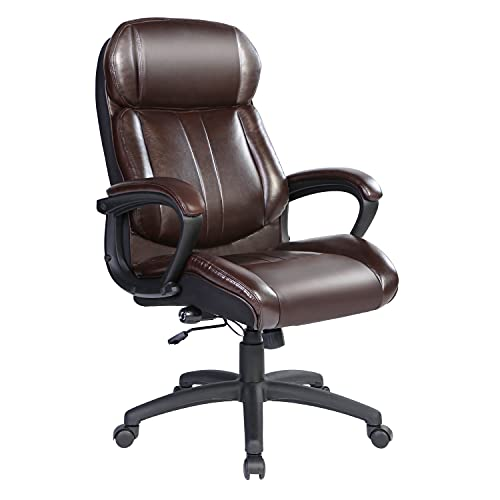 Bowthy Big and Tall Executive Office Chair 300lbs Computer Ergonomic Desk Chair 360 Swivel Task Chair with Wheels and Adjustable Lumbar Support High Back PU Leather Chair (Brown)