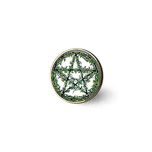bab Collar con colgante de pentagrama de ratán verde con diseño de estrella de Wiccan y Pentáculo