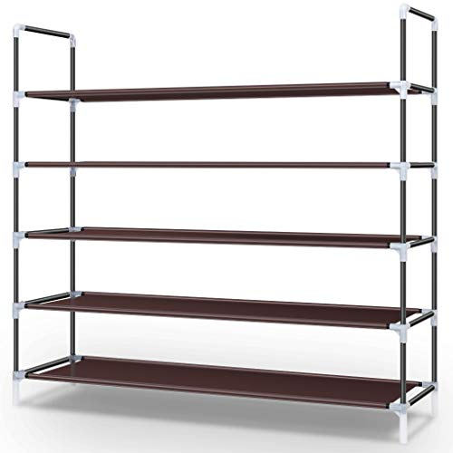 Awenia 5 Tiers Shoe Rack Organizer 30 Pairs,Stackable Shoes Storage Shelves Metal for Closet with Spare Parts DIY Assemble,Brown