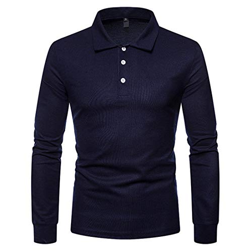 YINLAN Mens Cotton Linen Plain Fashion Casual Polo Shirts Rugby T-shirt Slim Fit Long Sleeve Golf Tennis Business Work Tee Tops Mens Youth Elastic Suitable Sweatshirt Blouse With Buttons On Chest