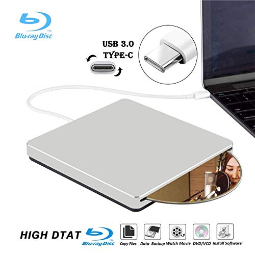 Lettore Masterizzatore Blu Ray Dvd, KuWFi USB3.0 Type-C Portable Slim Automatic slot-loading CD/DVD-RAM/BD-ROM Superdrive +/- RW Rewriter/Reader for Laptop PC Windows Mac OS