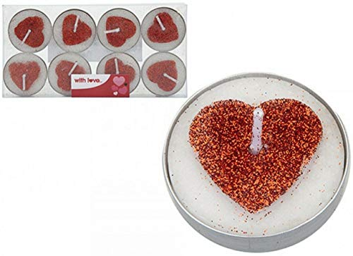 (Pack of 8) Red Glitter Candles Love Heart Shaped Tea Lights Valentines Day Gift