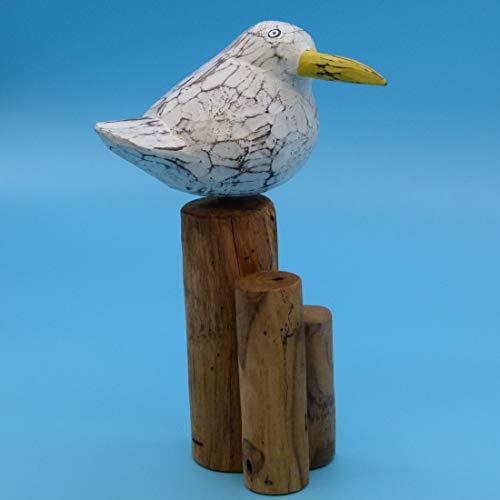 Pommerntraum ®   Dekoration Gartendeko maritim Möwe Möve Vogel auf Poller Naturdeko aus Holz