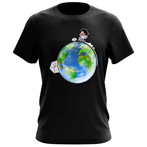 OKIWOKI Maglietta Nera da Uomo Parodia Holly e Benji - Oliver Hutton - (T-Shirt di qualità Premium in Taglia L - Stampata in Francia - RIF : 614)