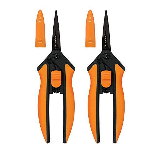 Fiskars 399241-1002 Micro-Tip Pruning Snips, Non-Stick Blades, 2 Count, Orange