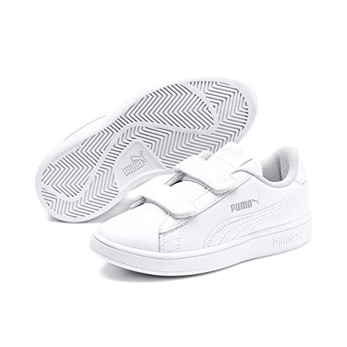 Puma Unisex-Kinder Smash v2 L V PS Sneaker,Weiß (Puma White-Puma White), 34 EU