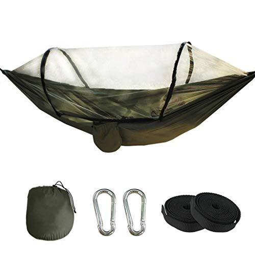 Hamacs, Meubles de Camping Balançoire Anti-Moustique extérieure Anti-retournement Rangement Pratique Résistance à la déchirure Charge 200 kg (Couleur: Vert, Taille: 260 * 140cm) Confortable