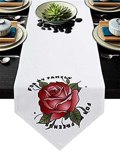 VJRQM Chemin de Table de Cuisine,Rose Rouge pour ma Famille Chemin de Table en Toile de Jute écharpes de Commode pour dîner en Famille,fêtes extérieures/intérieures,Rassemblement,13x70 Pouces