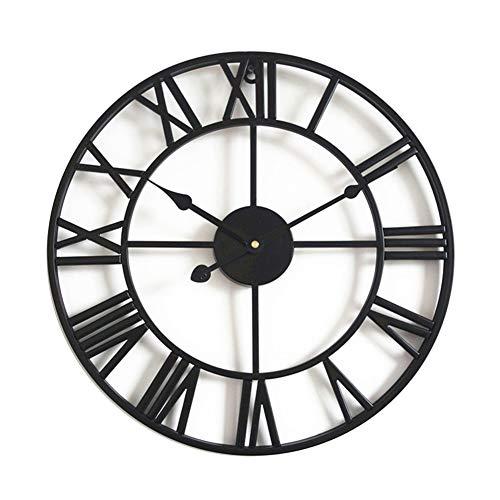 Taodyans - Reloj de pared silencioso con números romanos (40cm), diseño metálico con engranajes vistos, ideal para salón, cocina, café, hotel y oficina, decoración del hogar