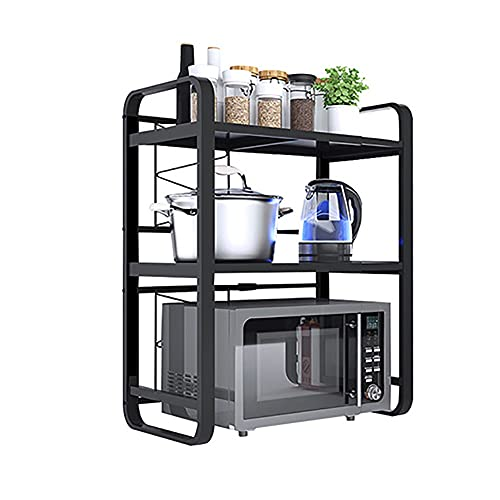 Met Love Horno de microondas extensible Rack Heavy Cargar Microondas Estante de Microondas Oficionador de almacenamiento de cocina (Color : 3 floors)
