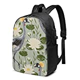 Nowheresz Crane Bird Water Lily 17 Inch Backpack with USB Laptop Used for Travel School Business