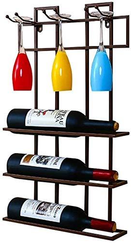 WLABCD Estante de Vino, Montado en la Pared, Barra, Restaurante, Tetera de Botella de Vino, Titular de Pared Material Estante de Muro Estante de Alenamiento Titular Montado en la Pared, Bronce,Bronce