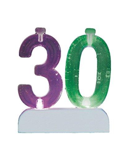 Unique Party 37543 verjaardagskaars cijfer 30 met wisselende kleur lampvoet met 4 kaarsen