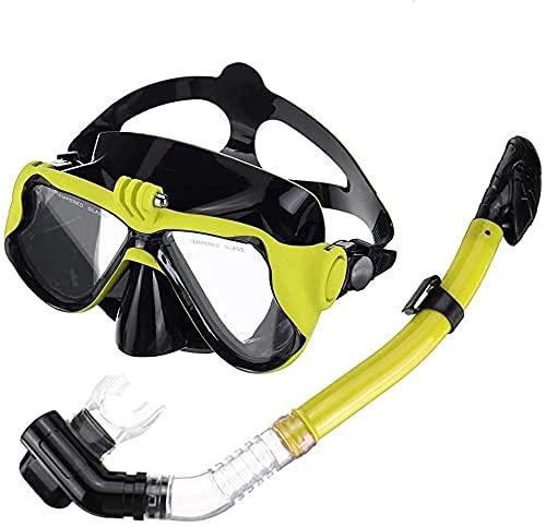 AWJ máscara de Buceo Máscara de Buceo Máscara de Buceo de Cara Completa Snorkel Scuba Swimming Dry Snorkeling Set Free Breath Correa Ajustable y Hebillas para bucear (Color: Green, Size: On
