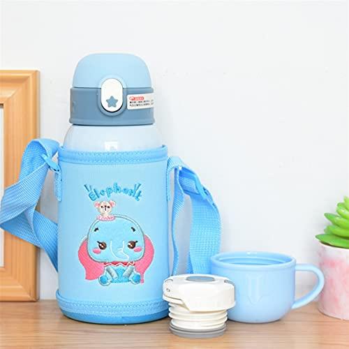 GHJGHJ 316 Frasco de vacío de Acero Inoxidable de Dibujos Animados para con pajitas, Anti-caída y Anti-Asfixia Doble Botella de Agua Potable (Capacity : 500Ml, Color : HA727-blue)