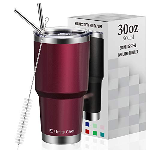 30oz Tumbler with Lid, Insulated Stainless Steel Travel Tumbler by Umite Chef, Insulated Coffee Mug, Double Wall Water Coffee Cup for Home, Office, 2 Straws, Brush & Gift Box(30oz, Wine Red)
