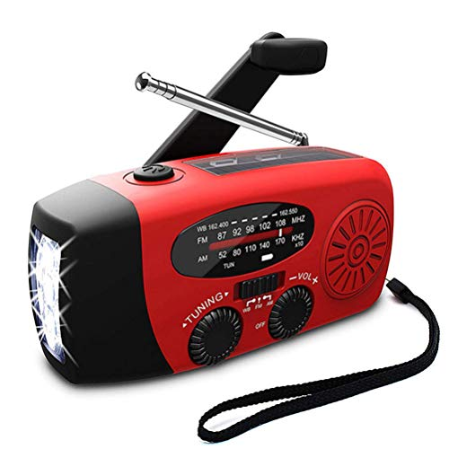 Multifunctional Solar Radio, with USB/Hand Crank Power Generation Function/WB Band Best Reception and Longest Lasting,Red