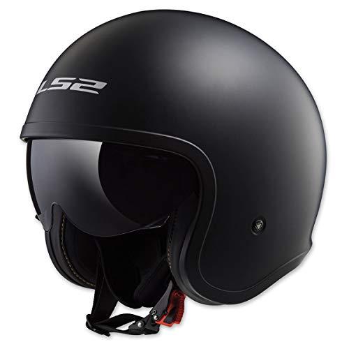 LS2 Helmets Open Face Spitfire Helmet (Matte Black - Medium)