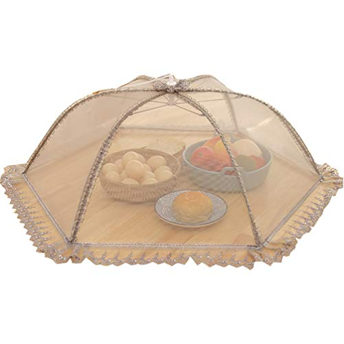 Pop-Up Mesh Food Covers Tent Umbrella Large Reusable and Collapsible Screen Net Protectors for Outdoors Picnics BBQs Keep Out Flies Bugs Mosquitoes Food Cover Net (Grey round, Diameter 78cm)